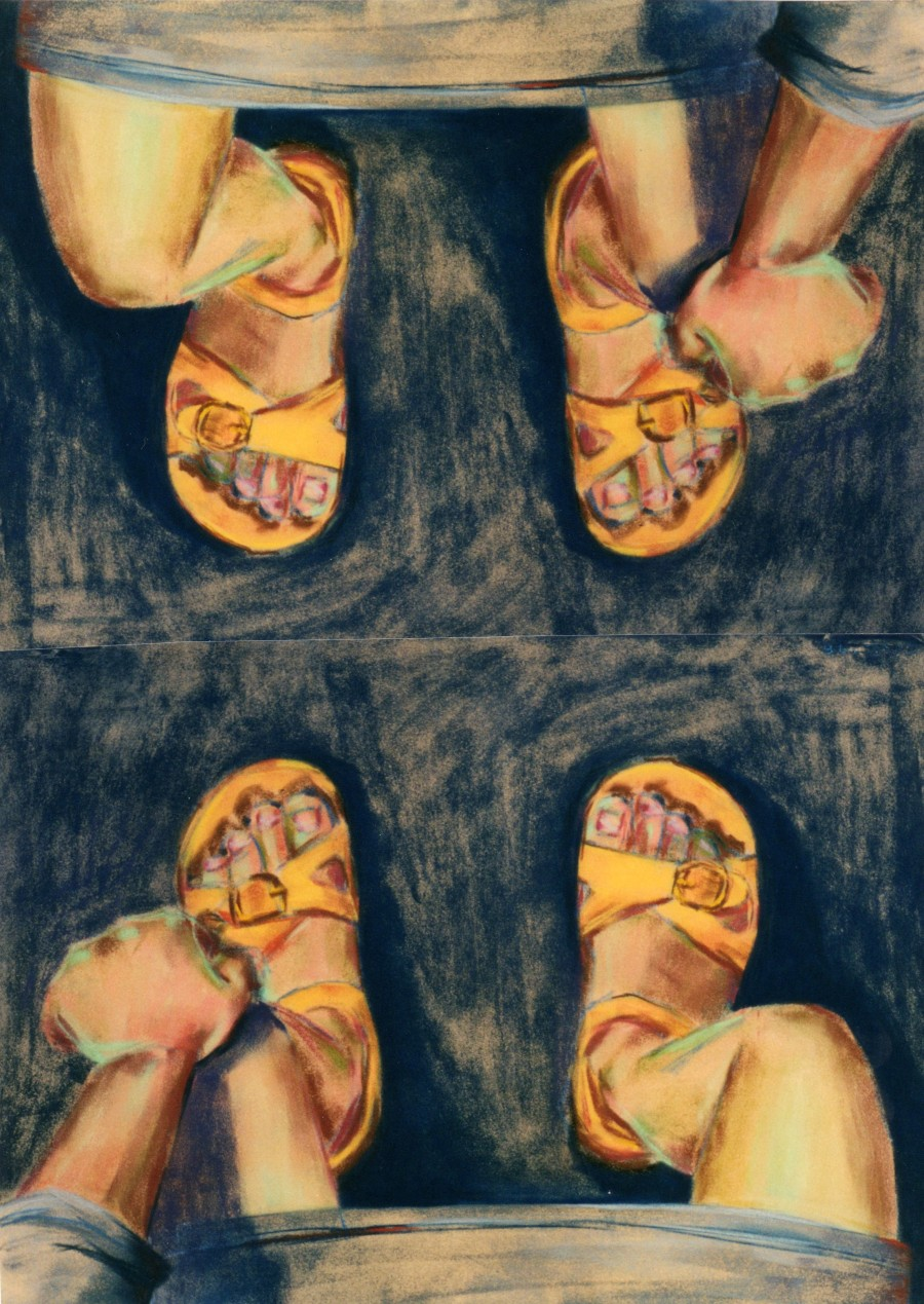 pastel drawing 'Summer Sandals' by Cat Fink